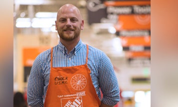Wounded warrior climbs the ladder at The Home Depot