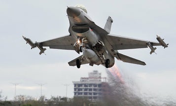 A Belgian F-16 fighter pilot ejected onto a high-voltage power line in France
