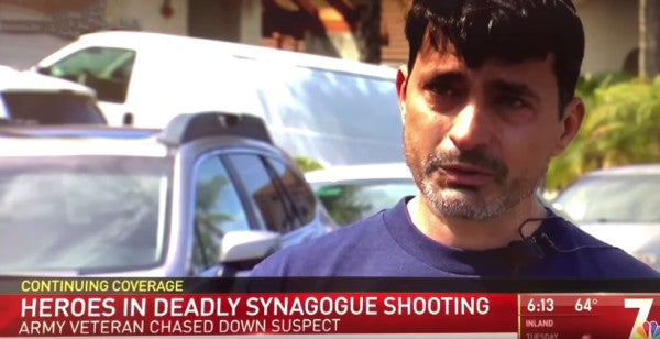 When a gunman opened fire at a San Diego synagogue, an unarmed Iraq War veteran counterattacked