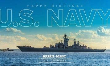 An Army vet turned Florida congressman wished the Navy a happy birthday with a photo of a Russian battlecruiser