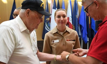'She's well worth it' — Third-generation sailor pinned by Navy vet father and grandfather