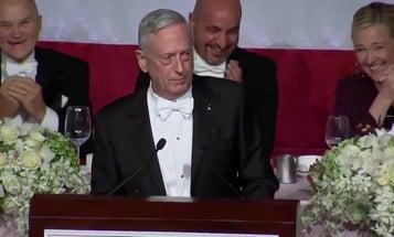 Mattis offers optimism, avoids talking Trump during speech in Spokane