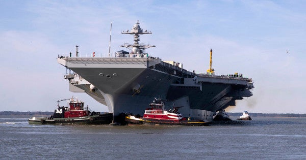 $13 billion aircraft carrier leaves shipyard even though most of its weapons elevators still don't work