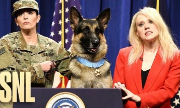 Conan the hero dog answers questions from the press on 'Saturday Night Live'