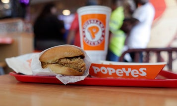 We give the Popeye's chicken sandwich at the Pentagon two knife hands up