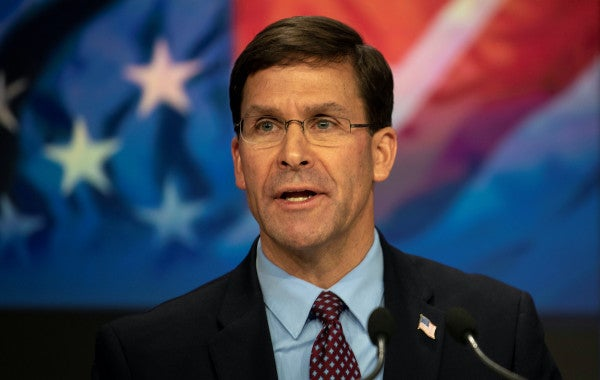 SecDef Esper: US troop drawdowns in Afghanistan are 'not necessarily' tied to a deal with the Taliban