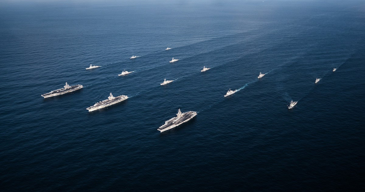 Three U.S. aircraft carriers operating on doorstep of South China Sea