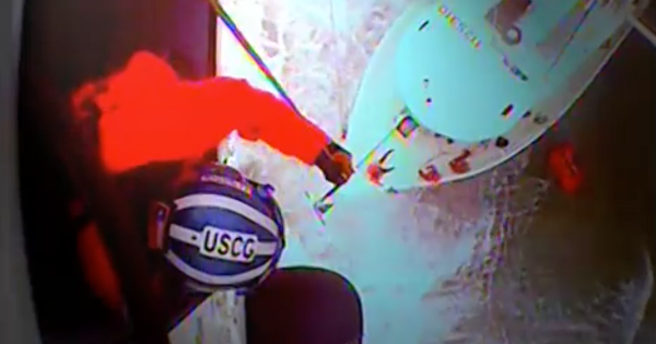 Dramatic video shows Coast Guard helicopter rescuing fishermen in North Carolina