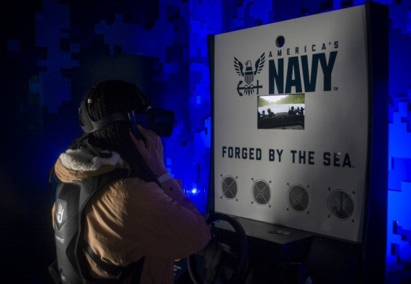 Navy recruiters get in on the VR game, showing potential sailors what it's like to drive a special warfare boat