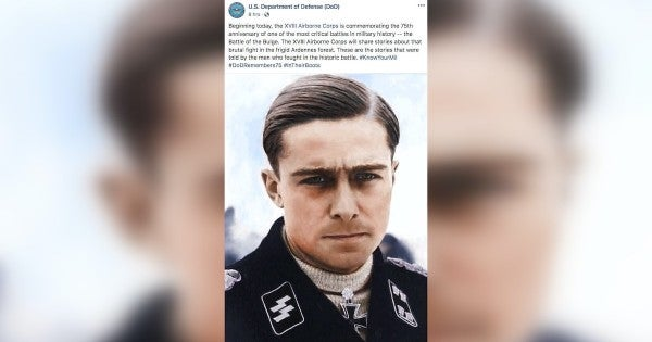 Army unit remembers the Battle of the Bulge with a photo of a Nazi whose troops killed American prisoners