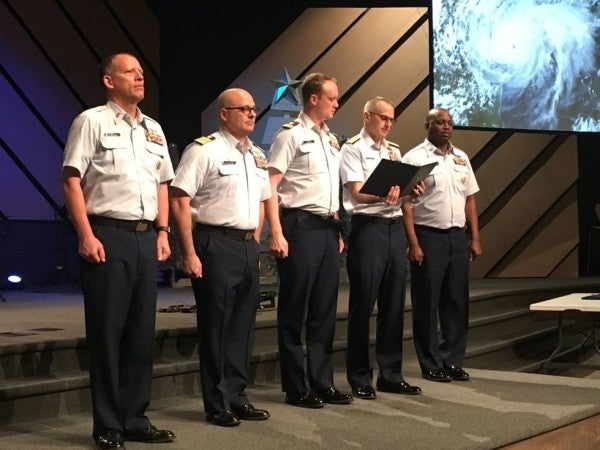 Heroic Coasties receive Distinguished Flying Crosses for rescuing hundreds from Hurricane Harvey