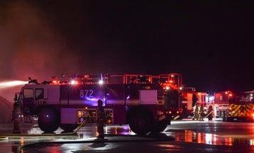 Blaze engulfs hangar at Minot Air Force Base