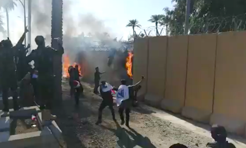 Videos show Iraqi protesters storming the US embassy in Baghdad
