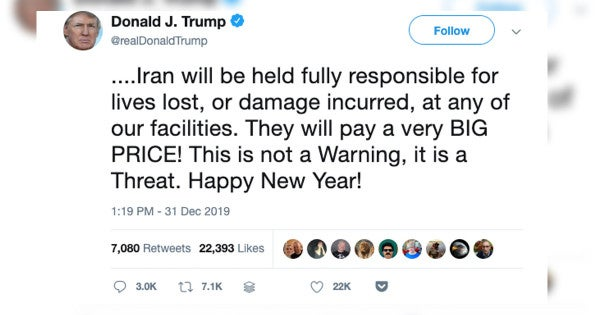 Trump says 'Happy New Year!' in tweet threatening Iran over US embassy attack