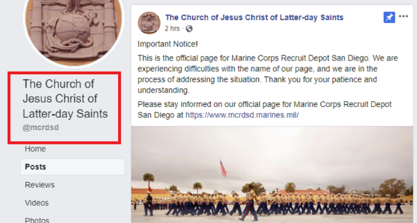 The official Facebook page for Marine boot camp in San Diego is having some technical difficulties
