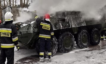 An Army Stryker burst into flames in Poland during a show of strength against Russia