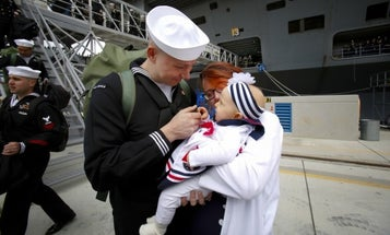 'It's been a long time coming' — Hugs and tears as USS Abraham Lincoln returns from longest deployment since Cold War