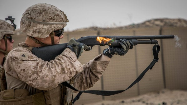 You can practically smell the gunpowder in this intense Marine Corps photo