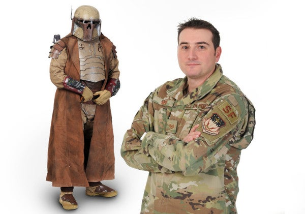 We salute the Air Force tech sergeant who moonlights as a Star Wars bounty hunter for charity