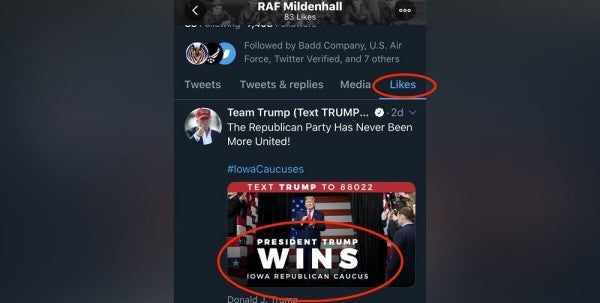 Airman receives remedial training after RAF Mildenhall's Twitter account 'likes' pro-Trump political tweets