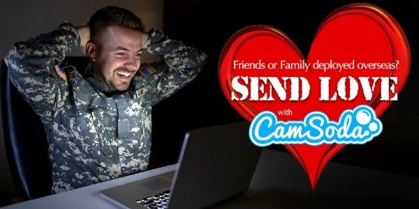 An adult website is offering deployed troops free 'live chats' with porn stars on Valentine's Day