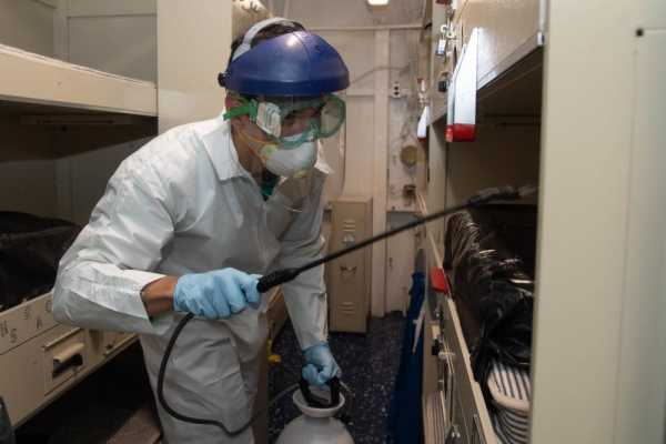 The Navy has disinfected 80 percent of the USS Theodore Roosevelt in a 'bleach-a-palooza'