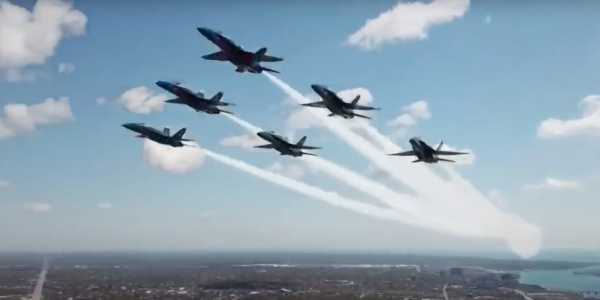 A drone appears to have gotten dangerously close to the Blue Angels during a flyover in Detroit