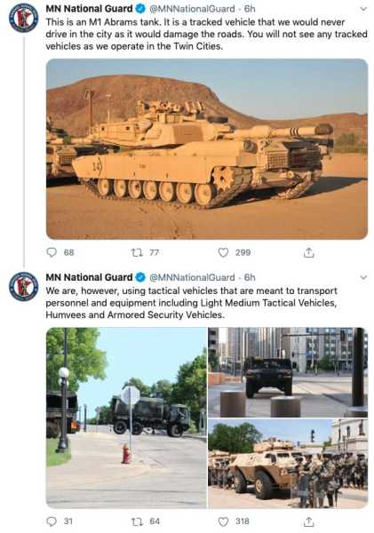 Minnesota National Guard deletes tweet saying it won't send tanks into cities because it caused 'more confusion'