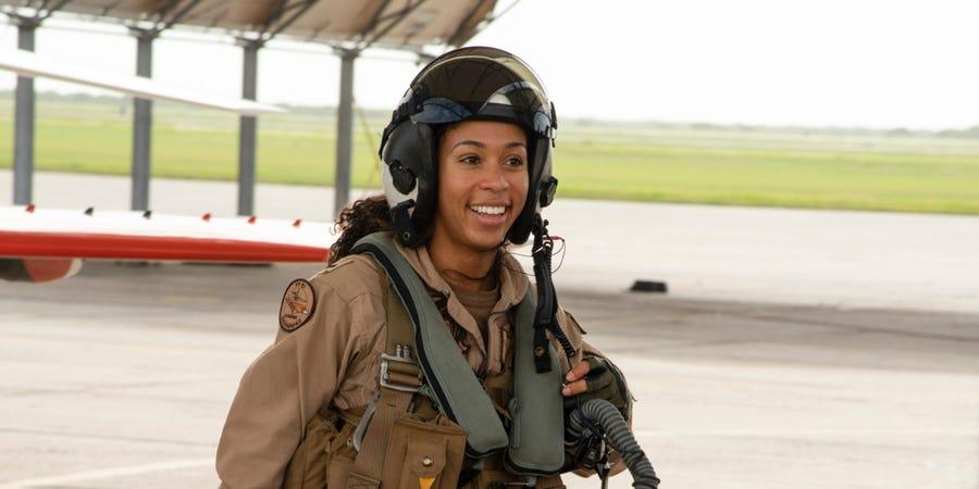 LTJG Madeline Swegle, the first Black female tactical fighter pilot.