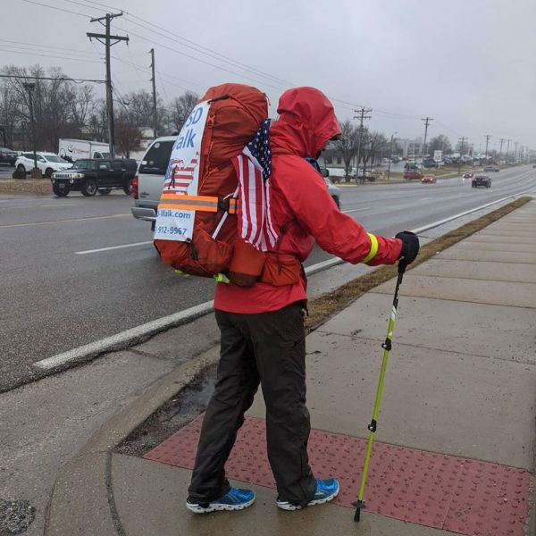 Former soldier walking across the country aims to bring 'a tsunami of attention' to PTSD