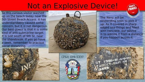Suspicious military device washes up on Outer Banks beach. It won't explode, cops say