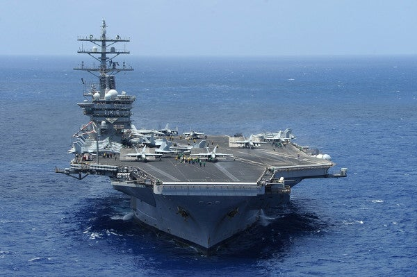 The Navy's latest aircraft carrier deployment got off to an unusual start