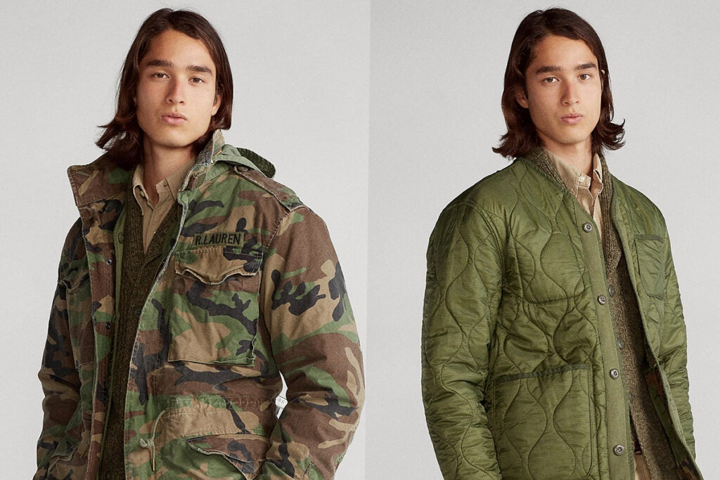 To be clear: Every single part of this product was lifted from the military, even the sweater made from a poncho liner — or woobie, for you Army folks.(Ralph Lauren)
