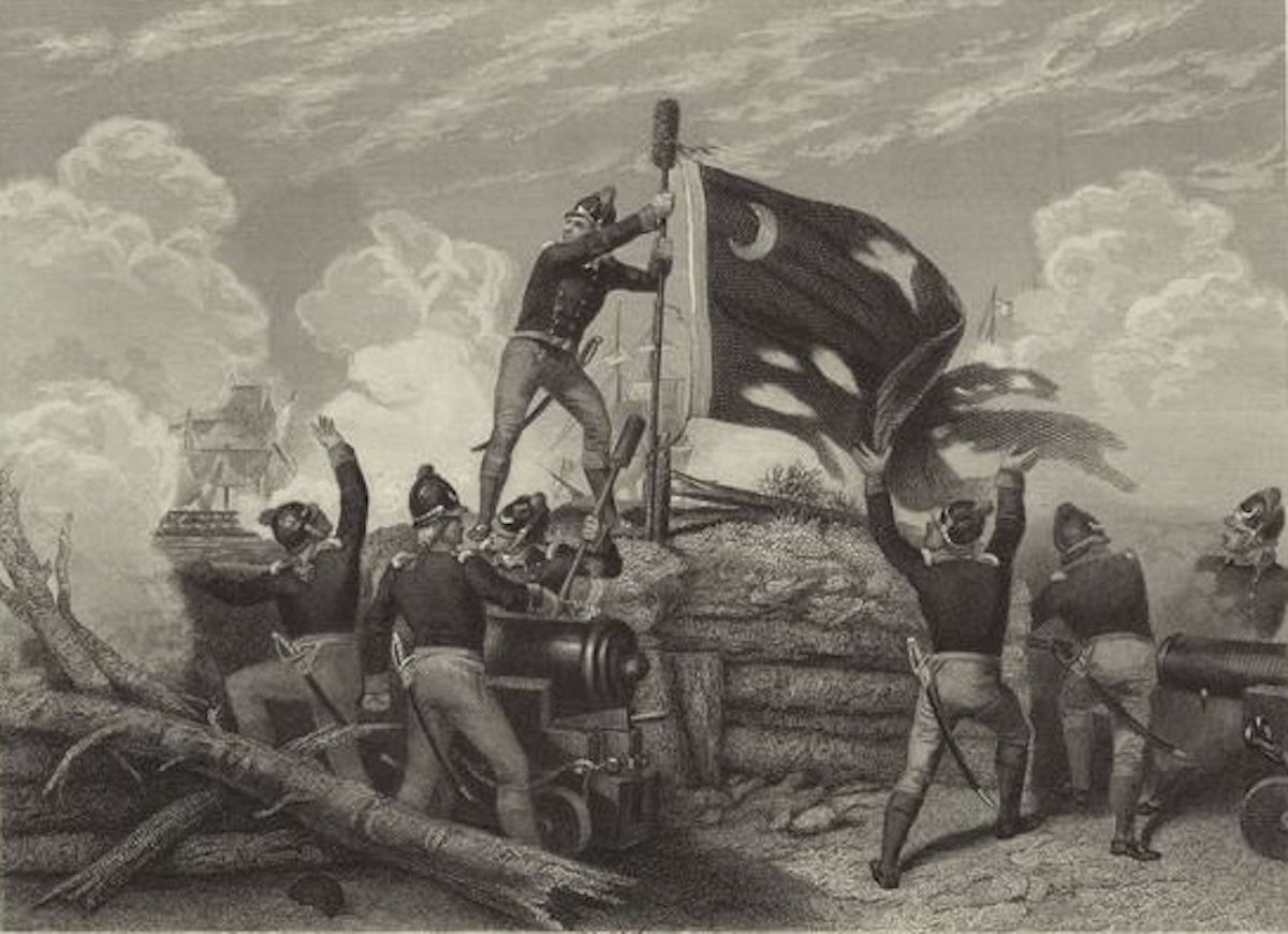 We salute the USS Paul Hamilton for flying a Revolutionary War battle flag on its way back to port