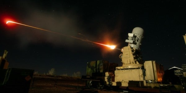 A 2nd Battalion, 44th Air Defense Artillery Regiment, 101st Airborne Division Sustainment Brigade, 101st Abn. Div., counter-rocket, artillery and mortar fires March 27 at an aerial target at Fort Campbell, Ky. (US Army photo by Sgt. Patrick Kirby, 40th Public Affairs Detachment)