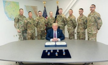 Trump presents Distinguished Flying Cross to National Guard aircrews for daring wildfire rescues