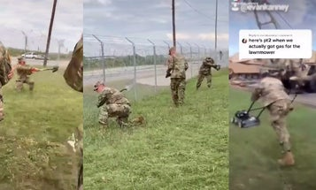 This video of soldiers 'cutting' the grass with shovels will give you flashbacks