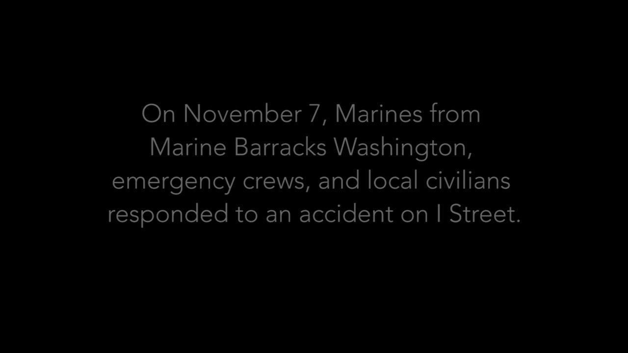 Guard Company Marines' quick thinking and response help save pedestrian's life