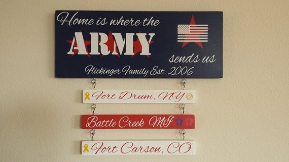 Home is Where the Army Sends Us - Army Vinyl Sticker Sign on Solid Wooden Board Military Patriotic
