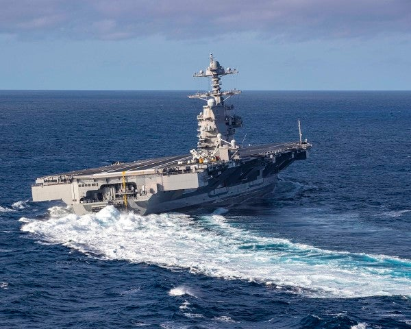 America's newest aircraft carrier only has 4 of its 11 elevators working, but at least it can do these high-speed turns