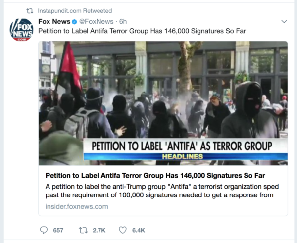 Plagiarized, Error-Riddled White House Petition To Designate Antifa A Terror Group Gets 200K Signatures