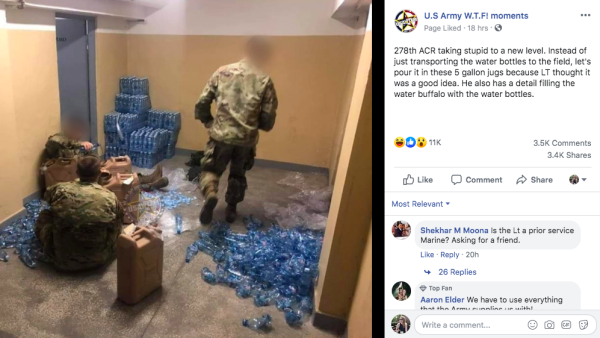 You're probably having a better day than these soldiers tasked with filling water jugs with individual water bottles