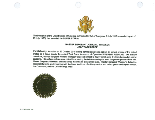 Here's A Copy Of The Silver Star Citation For Joshua Wheeler, The Delta Force Hero Killed Fighting ISIS