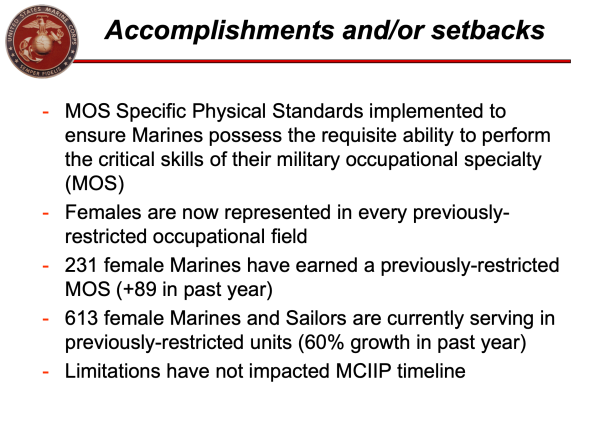 More than 600 female Marines and sailors now serving in previously-restricted units