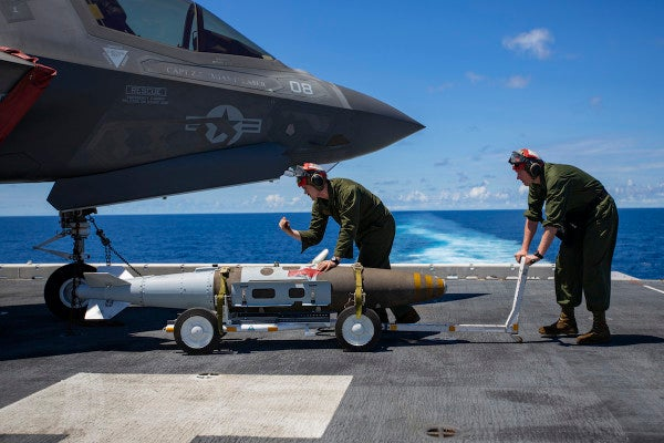Marine Corps F-35s practice 'shock and awe' strikes in the Pacific with back-to-back bombing runs