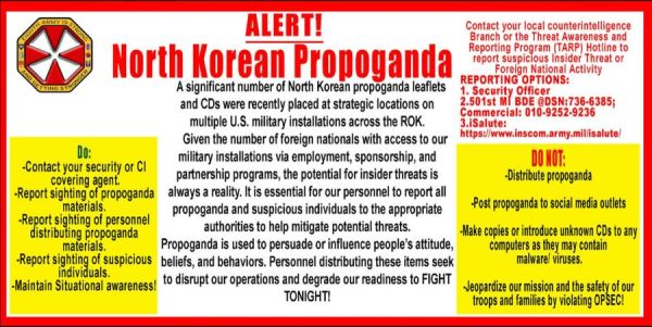 US Military Issues Alert After North Korean Propaganda Found On Multiple Bases