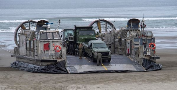 Watch Navy hovercraft storm the beaches of the Pacific Northwest to train for the next catastrophic earthquake