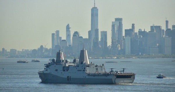 The Navy warship forged from World Trade Center steel has returned to New York for the first time in years