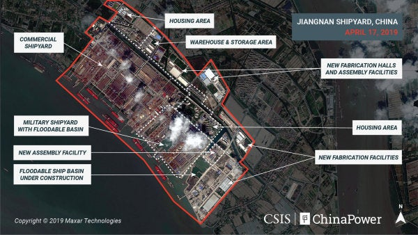 New satellite photos show China is building its third and largest aircraft carrier