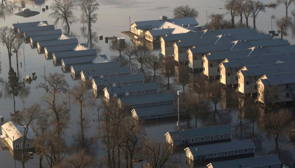 A major Army National Guard facility is practically underwater thanks to the Midwest's insane flooding